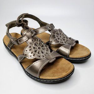Clarks Bendables Metallic Gold Leather Sandals 9.5